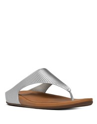 Fitflop Banda Tm Perforated Toe Thong Sandals Silver