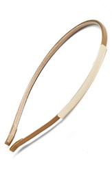 Cara 'Totes Chic' Metal And Faux Leather Headband Beige Tan