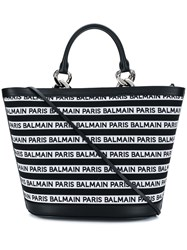 Balmain Striped Logo Tote Black