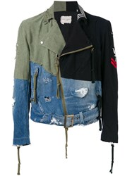 Greg Lauren Contrast Panel Destroyed Denim Jacket Green