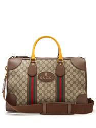 Gucci Gg Supreme Canvas And Leather Holdall Brown Multi