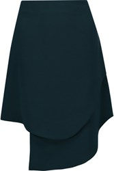 Opening Ceremony Talene Asymmetric Crepe Mini Skirt Petrol