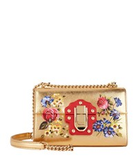 Dolce And Gabbana Lucia Floral Chain Shoulder Bag Female Gold
