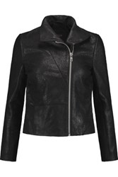 Maje Textured Leather Biker Jacket Black