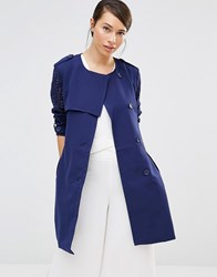 Lavand Soft Drapey Trench Coat Blue