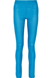 Missoni Metallic Crochet Knit Skinny Pants Blue