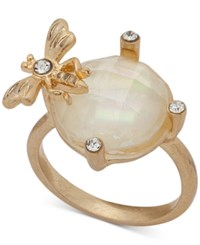 Lonna And Lilly Gold Tone Pave Stone Bee Ring Created For Macy's Pearl