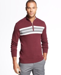 John Ashford Big And Tall Chest Stripe Quarter Zip Sweater Red Plum