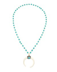 Panacea Long Beaded Necklace W Horn Pendant Turquoise