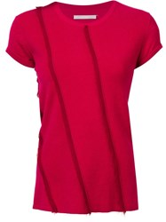 Jason Wu Frayed Panelled Top Red