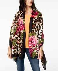 Inc International Concepts I.N.C. Floral Leopard Print Scarf And Wrap In One Created For Macy's Neutral
