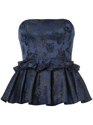 C Meo Collective Strapless Ruffle Top Blue