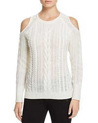 Aqua Cable Knit Cold Shoulder Sweater Ivory