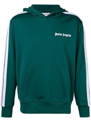 Palm Angels Side Striped Track Hoodie Green