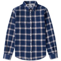 Norse Projects Anton Loose Weave Check Shirt Blue