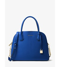 Mercer Large Leather Dome Satchel Electric Blue
