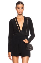 Thierry Mugler Mugler Fluid Cross Drape Silk Blouse In Black