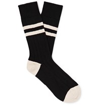 The Workers Club Striped Cotton Blend Socks Black