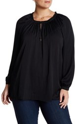 14Th And Union Peasant Blouse Plus Size Black