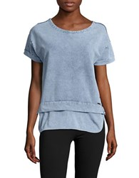 Marc New York Knit Chambray Top Light Wash