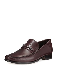 Bruno Magli Pittore Leather Horsebit Loafer Burgundy Red