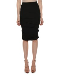 Tom Ford Ruched Jersey Body Con Knee Length Skirt Black