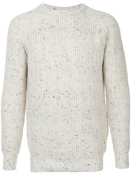 Guild Prime Flecked Ribbed Sweater Acrylic Nylon Lambs Wool White