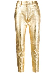 Golden Goose Embroidered Detail Cropped Trousers Gold