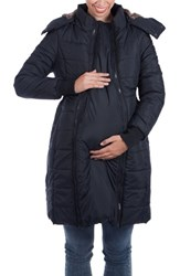 Modern Eternity Women's Madison Quilted Maternity Puffer Coat With Faux Fur Trim Black