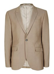 Topman Mid Grey Light Taupe Twill Skinny Fit Suit Jacket