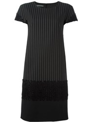 Alberta Ferretti Pinstripe Detailed Dress Black