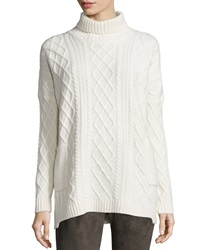 Neiman Marcus Long Sleeve Cable Knit Turtleneck