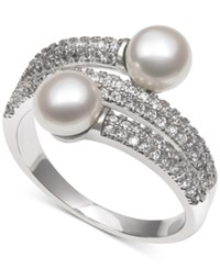 Macy's Cultured Freshwater Pearl 6Mm And Cubic Zirconia Wrap Look Statement Ring In Sterling Silver Size 6 8