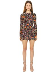 Red Valentino Floral Print Viscose Marocaine Jumpsuit