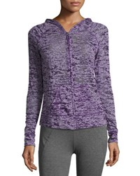 Soybu Brynne Zip Front Burnout Camo Hoodie Purple