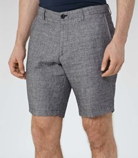 Reiss Walford Houndstooth Shorts In Grey Mens
