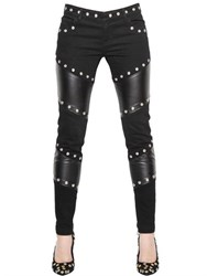 Ungaro Studded Faux Leather And Denim Pants