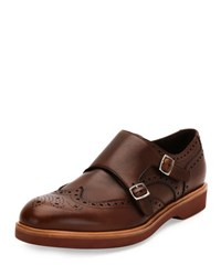 Salvatore Ferragamo Fabriano Calfskin Double Monk Strap Loafer With Contrast Sole Tan Brown