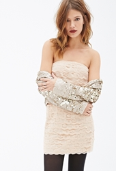 Forever 21 Scalloped Lace Strapless Dress
