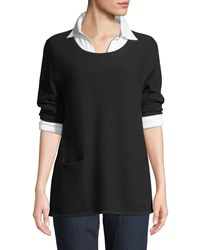Joan Vass Two Pocket Cotton Sweater Plus Size Black