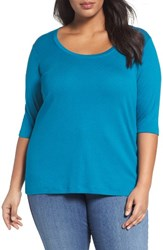 Sejour Plus Size Women's Elbow Sleeve Scoop Neck Tee Teal Ocean