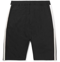 Neil Barrett Satin Trimmed Stretch Crepe Shorts Black