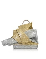 N 21 Silver And Gold Glitter Crossbody Bag W Iconic Bow On Front