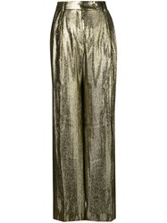 Alberta Ferretti High Waisted Trousers Metallic
