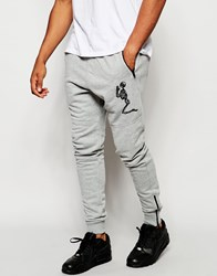 Religion Joggers With Large Skeleton Emroidery Greymarl