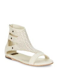 Freebird Devil Snake Skin Printed T Strap Sandals White
