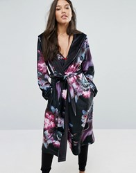 Ted Baker Ethereal Posey Long Printed Robe Black Floral