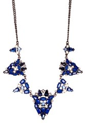 Spring Street Crystal Stone Statement Necklace Blue