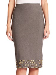 Donna Karan Embellished Jersey Pencil Skirt Flannel Grey
