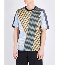 Wooyoungmi Striped Silk And Jersey T Shirt Forest